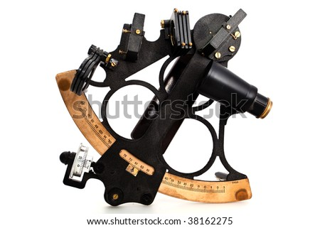 Navigational instrument. A sextant isolated on white background. Studio shot. - stock photo