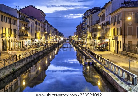 Naviglio Grande canal in the evening, Milan, Italy - stock photo