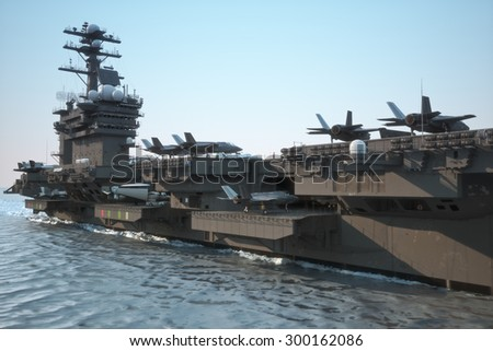 Navy aircraft carrier angled view, with a large compartment of aircraft and crew. - stock photo