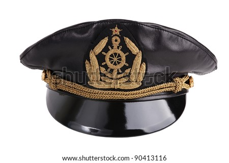 Navy black leather cap with an emblem on a white background