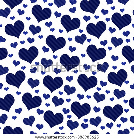 Navy Blue And White Hearts Tile Pattern Repeat Background That Is Seamless Repeats