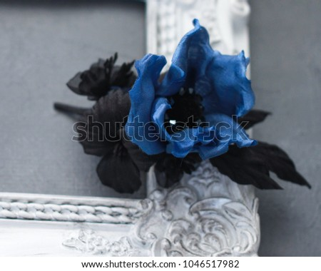 Navy blue woman brooch silk flowers stock photo royalty free navy blue woman brooch with silk flowers handmade mightylinksfo