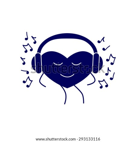 Navy colored dancing heart with closed eyes and headphones on it and many notes around it isolated on white background. Music fan concept. Logo template, design element - stock photo