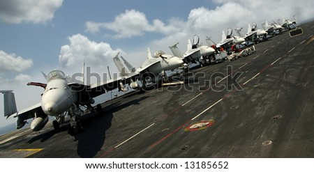 Navy F-18 Fighters  sit on the flight deck on an aircraft carrier