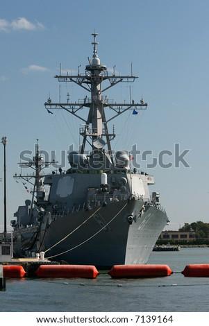 Navy Frigate in Norfolk, VA harbor - stock photo