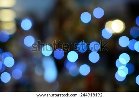 Navy Light Blue Bokeh, Out of Focus. Night Light, Lighting Shot. - stock photo