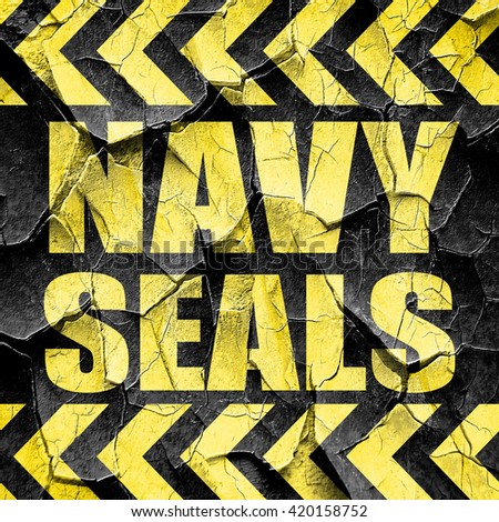 navy seals, black and yellow rough hazard stripes - stock photo
