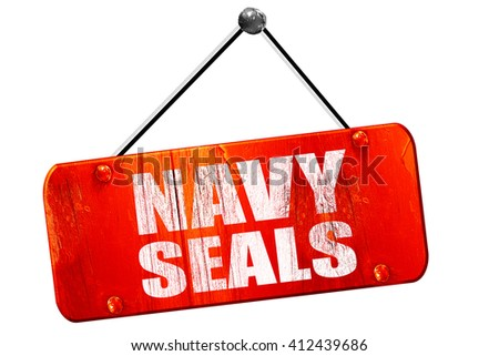 navy seals, 3D rendering, vintage old red sign - stock photo