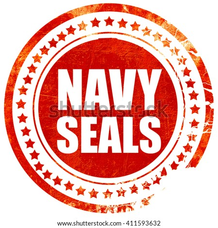 navy seals, red grunge stamp on solid background - stock photo