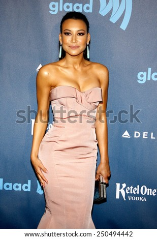 Naya Rivera at the 24th Annual GLAAD Media Awards at the JW Marriott Los Angeles at L.A. LIVE on April 20, 2013  - stock photo