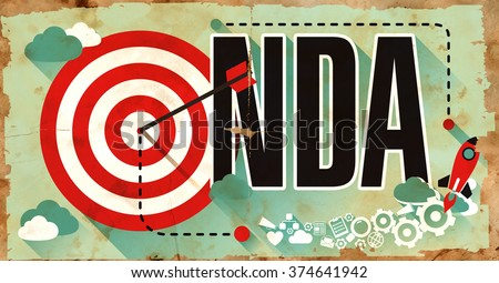 NDA - Non Disclosure Agreement - Drawn on Grunge Poster with Long Shadows. Trade Secret Concept. - stock photo