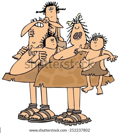 Neanderthal family - stock photo