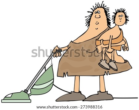 Neanderthal housewife - stock photo