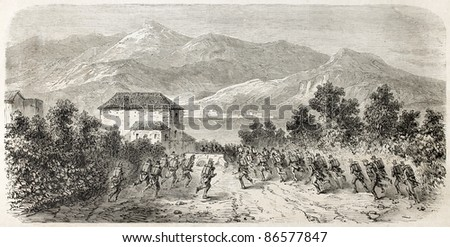 Neapolitan army escaping from San Giovanni (south Italy). Created by Gaildrau after Duvaux and Girin, published on L'Illustration, Journal Universel, Paris, 1860 - stock photo