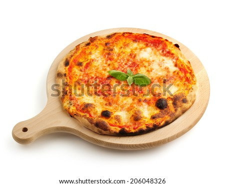 neapolitan pizza on a wooden cutting board - stock photo