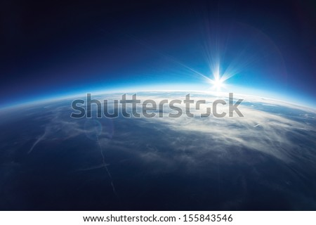 Near Space photography - 20km above ground / real photo - stock photo