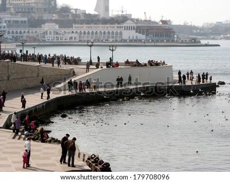 Near the Monument to the Scuttled Warships in Sevastopol, Ukraine, April 2011 - stock photo