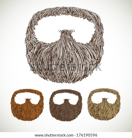Neat beard in color variations - stock photo