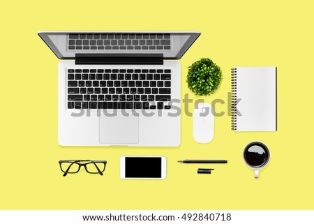 neat office supplies. Neat Yellow Hipster Desk Table With Computer Gadgets And Office Supplies. Top View, Flat Supplies F