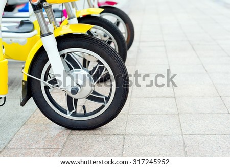 Neatly arranged in close-up electric bicycle - stock photo
