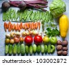 Neatly folded and various vegetables. - stock photo