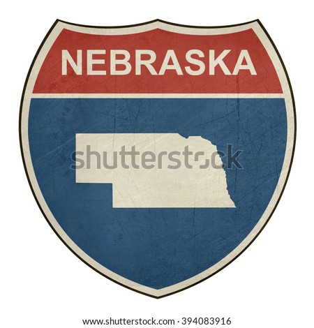 Nebraska American interstate highway road shield isolated on a white background. - stock photo