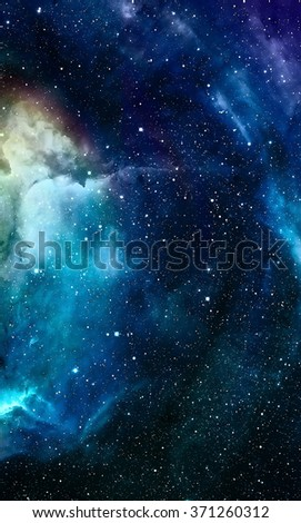 Nebula, Cosmic space and stars, blue cosmic abstract background. - stock photo
