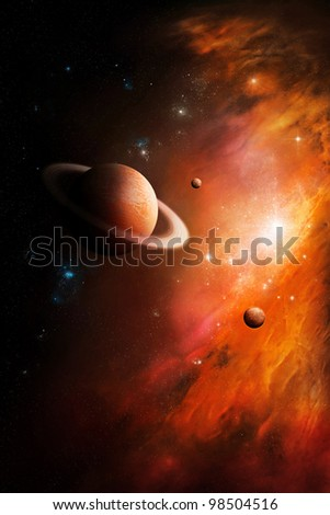 nebula gas cloud in deep outer space. - stock photo