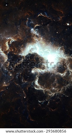 Nebula One - Digital abstract of a Nebula located somewhere deep in space. - stock photo