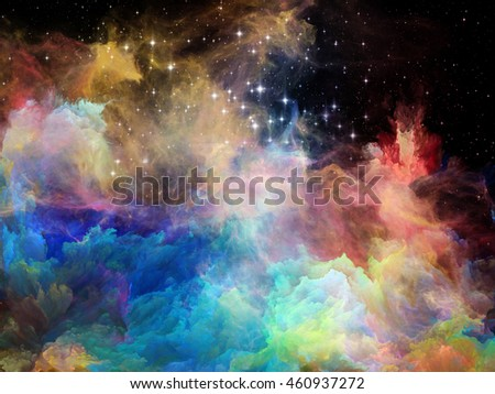 Nebula Surface series. Background design of color clouds and fractal elements on the subject of science, technology and education