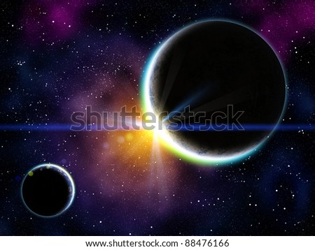 Nebula with stars and the two planet on the foreground - stock photo