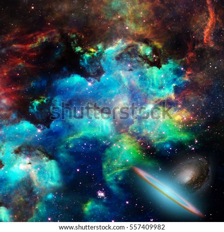 Nebulae, stars, galaxies. Vivid colors.  Some elements provided courtesy of NASA  3D Render