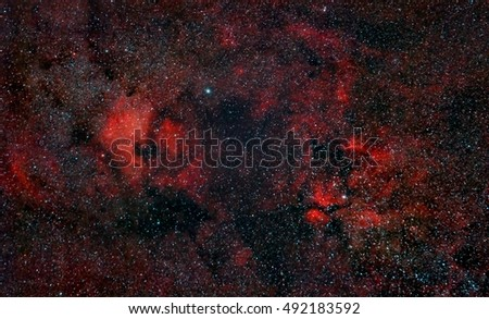 Nebulosity around Cygnus Constellation including North America Nebula, captured with an amateur telescope