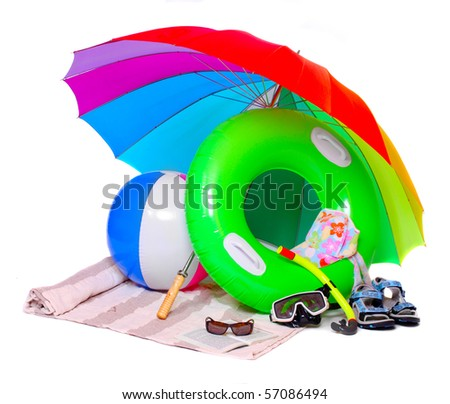 Necessary articles for happy vacations in tropical destination. - stock photo