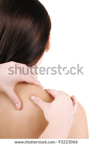 neck massage - a young woman - stock photo