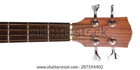 Neck of acoustic guitar isolated on white - stock photo