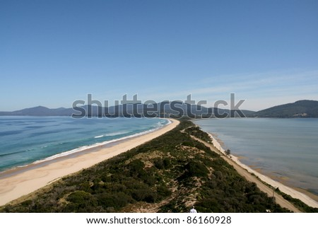 Neck of Bruny Island, Tasmania, Australia - stock photo