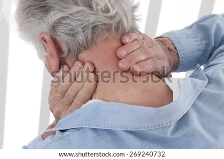 neck pain senior man - stock photo