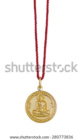 Necklace Buddha image isolated on white