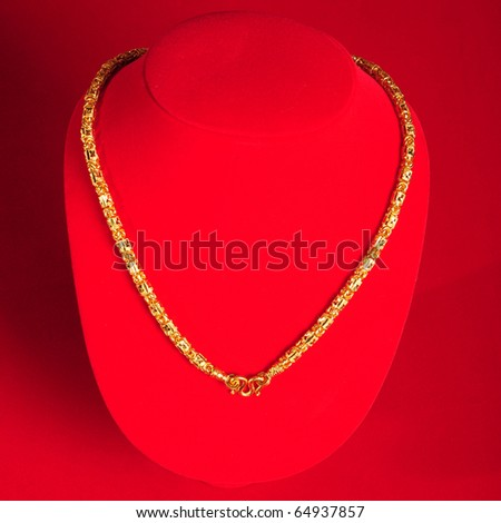 Necklace gold - stock photo