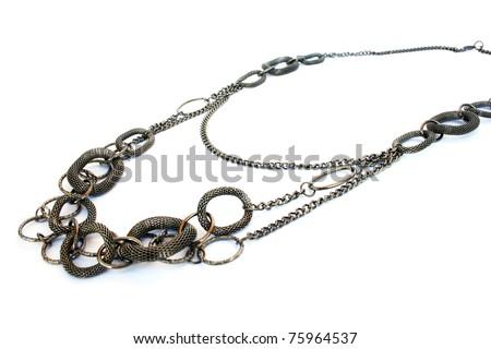 Necklace isolated on white background. - stock photo