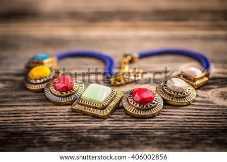 Necklace made of colorful semi precious stones - stock photo
