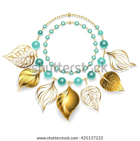 necklace of gold chain, green beads and gold leaves. Fashion jewelry. Gold necklace.  - stock photo