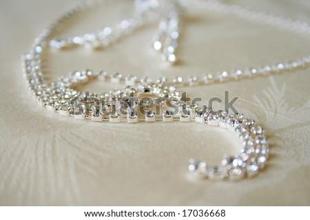necklace with diamonds - stock photo