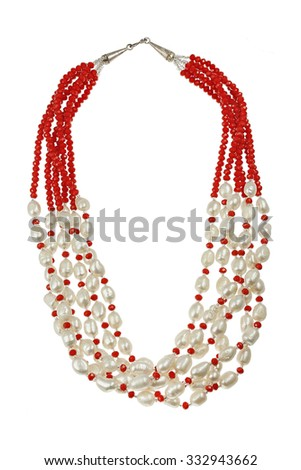 Necklace with red pearl and crystal - stock photo