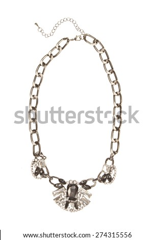 Necklace with  stones on a gold chain