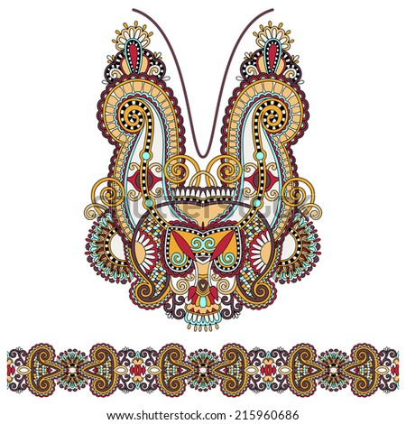 Neckline ornate floral paisley embroidery fashion design, ukrainian ethnic style. Good design for print clothes or shirt. Raster version - stock photo