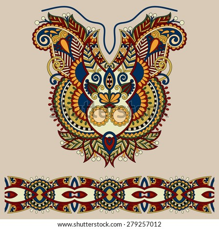 Neckline ornate floral paisley embroidery fashion design, ukrainian ethnic style. Good design for print clothes or shirt.  raster version in beige color  - stock photo