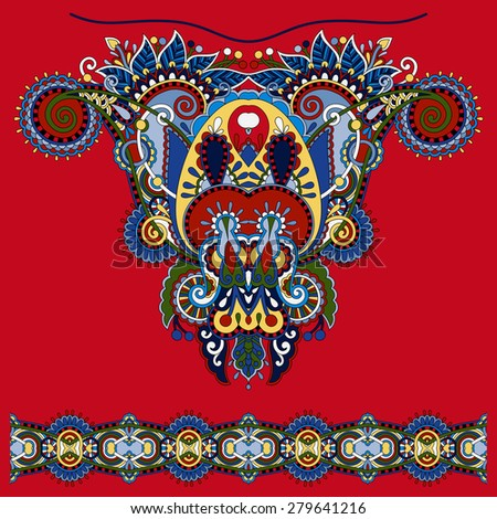 Neckline ornate floral paisley embroidery fashion design, ukrainian ethnic style. Good design for print clothes or shirt.  raster version illustration on red - stock photo