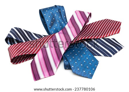 necktie a bunch on a white background - stock photo
